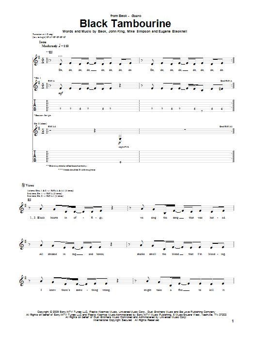 Download Beck Black Tambourine sheet music and printable PDF score & Rock music notes