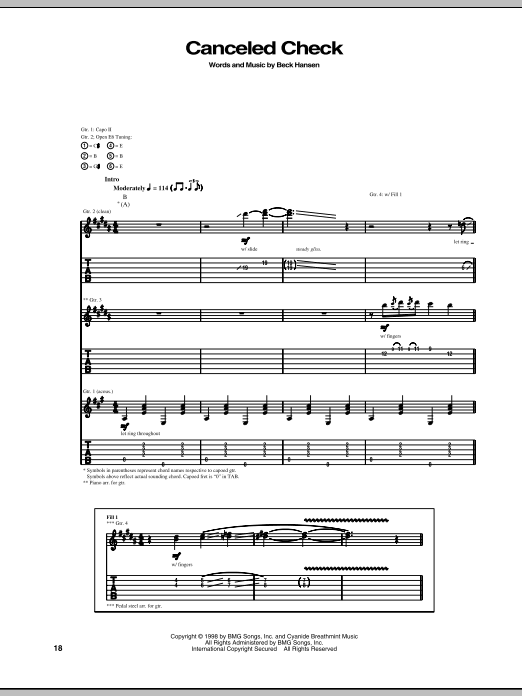 Download Beck Canceled Check sheet music and printable PDF score & Pop music notes
