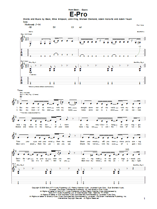 Download Beck E-Pro sheet music and printable PDF score & Pop music notes