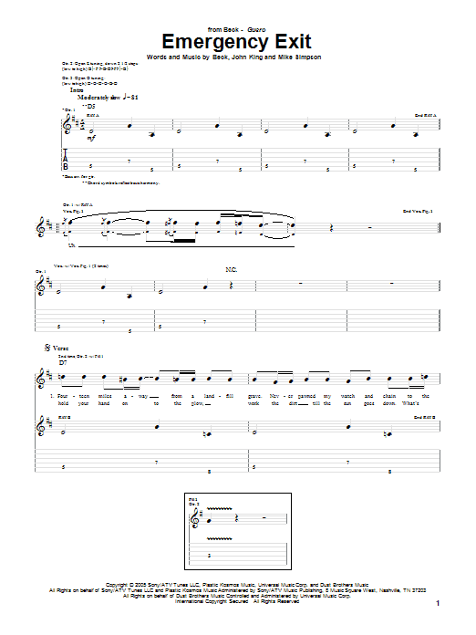 Download Beck Emergency Exit sheet music and printable PDF score & Rock music notes