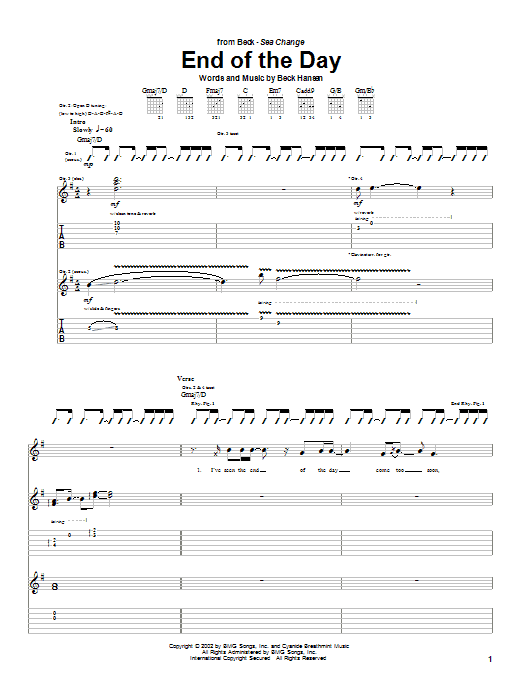 Download Beck End Of The Day sheet music and printable PDF score & Rock music notes