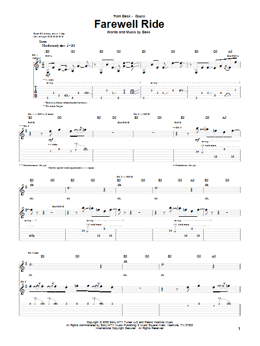 Download Beck Farewell Ride sheet music and printable PDF score & Rock music notes