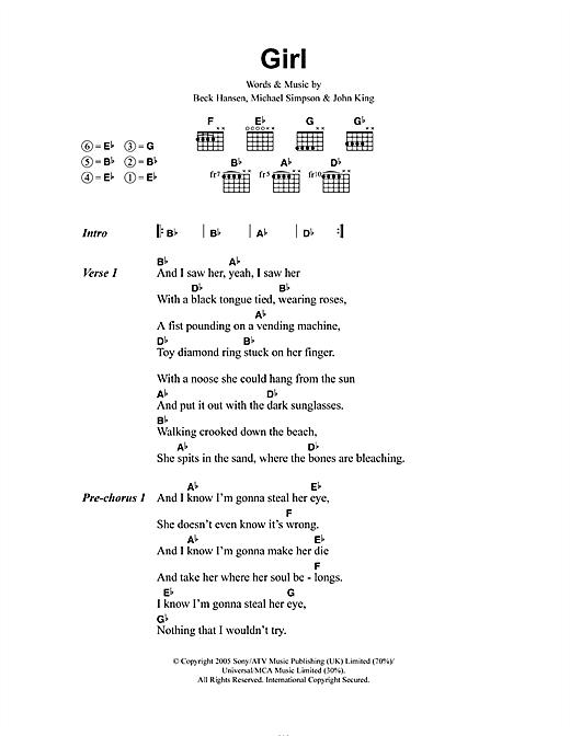 Download Beck Girl sheet music and printable PDF score & Rock music notes