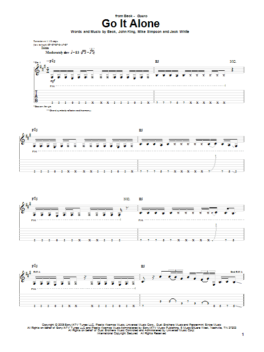 Download Beck Go It Alone sheet music and printable PDF score & Rock music notes