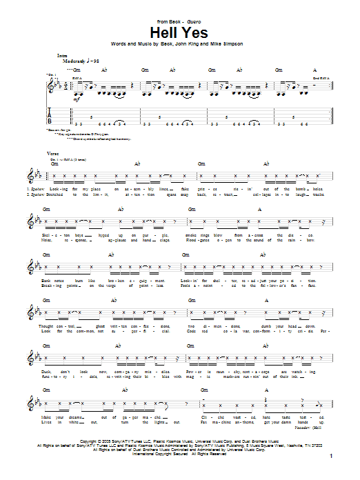 Download Beck Hell Yes sheet music and printable PDF score & Rock music notes