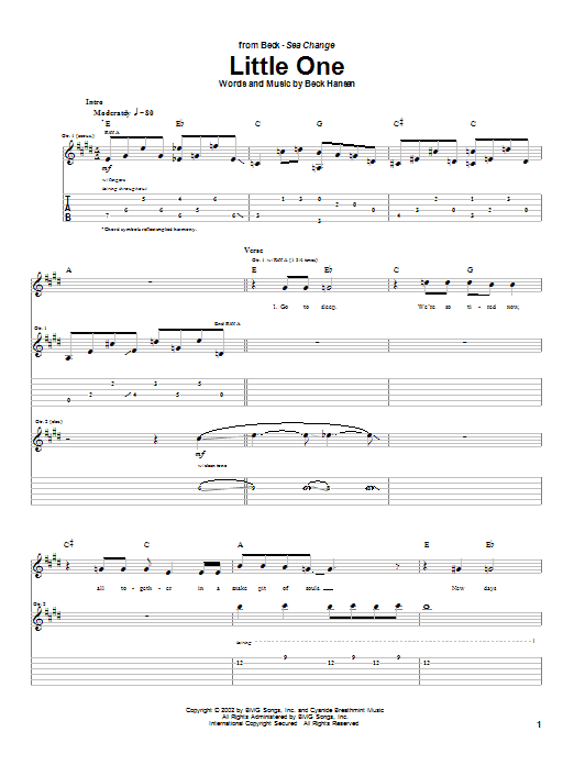 Download Beck Little One sheet music and printable PDF score & Rock music notes