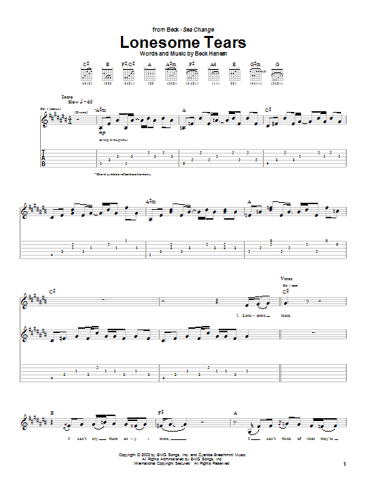 Download Beck Lonesome Tears sheet music and printable PDF score & Rock music notes