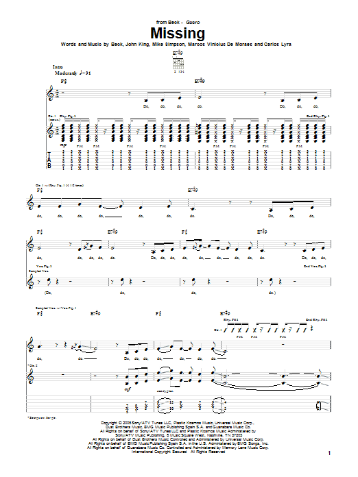 Download Beck Missing sheet music and printable PDF score & Rock music notes