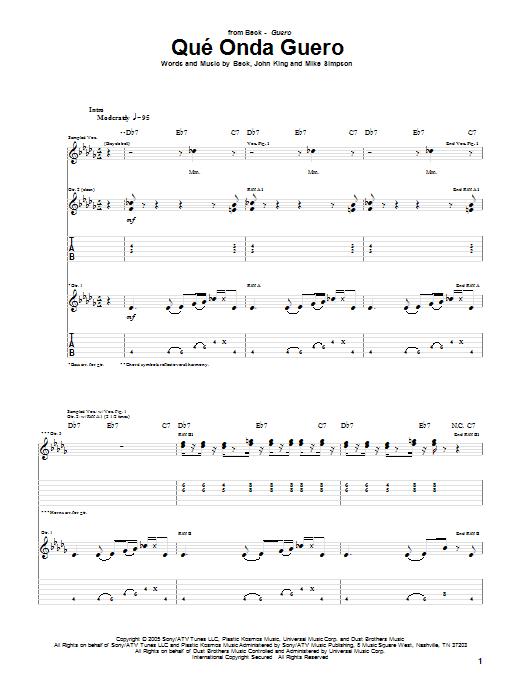Download Beck Que' Onda Guero sheet music and printable PDF score & Rock music notes