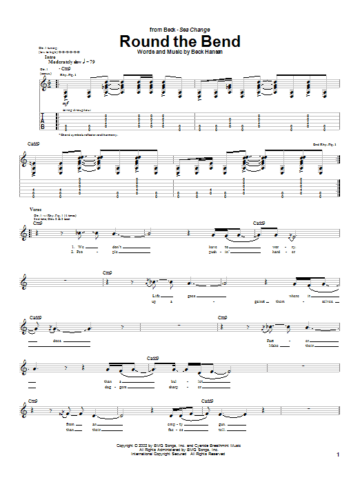 Download Beck Round The Bend sheet music and printable PDF score & Rock music notes