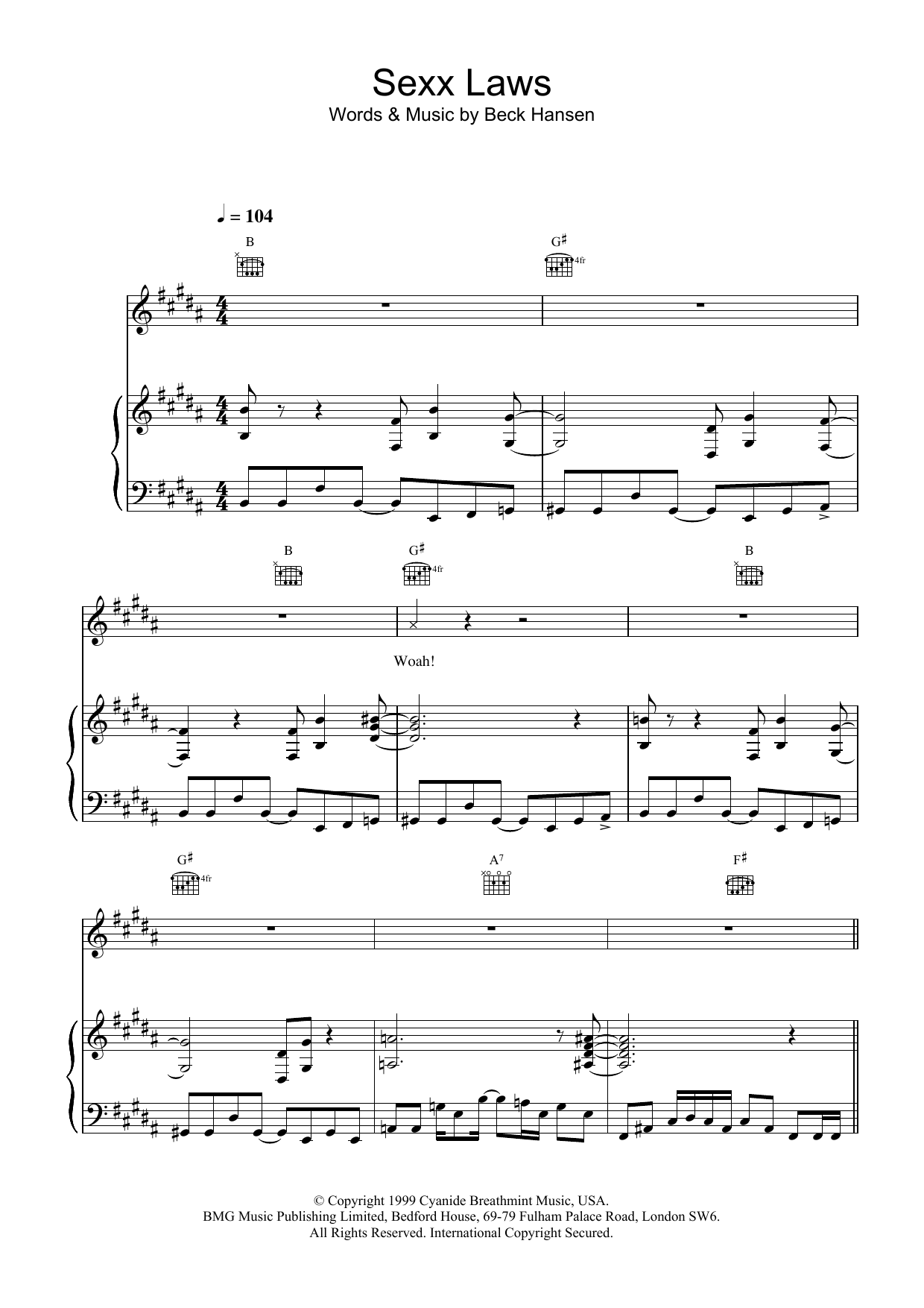 Download Beck Sexx laws sheet music and printable PDF score & Rock music notes