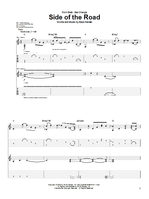 Download Beck Side Of The Road sheet music and printable PDF score & Rock music notes