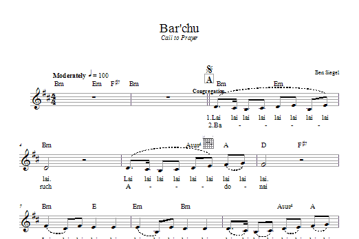 Download Ben Siegel Bar'chu sheet music and printable PDF score & Religious music notes
