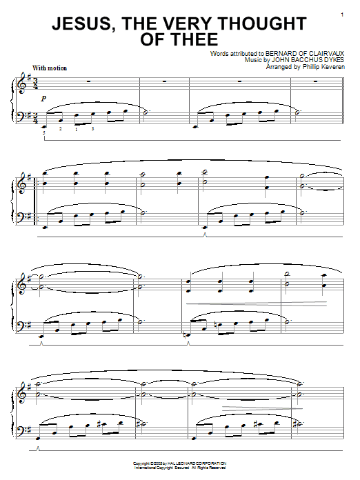 Download Bernard of Clairvaux Jesus, The Very Thought Of Thee [Jazz version] (arr. Phillip Keveren) sheet music and printable PDF score & Hymn music notes