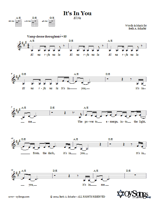 Download Beth Schafer It's In You (El Na) sheet music and printable PDF score & Religious music notes