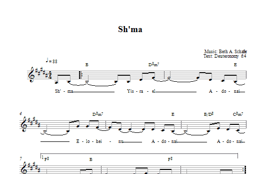 Download Beth Schafer Sh'ma sheet music and printable PDF score & Religious music notes
