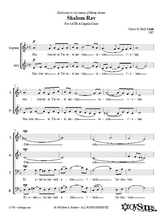 Download Beth Schafer Shalom Rav sheet music and printable PDF score & Post-1900 music notes