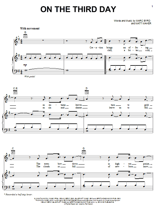 Download Bethany Dillon On The Third Day sheet music and printable PDF score & Pop music notes
