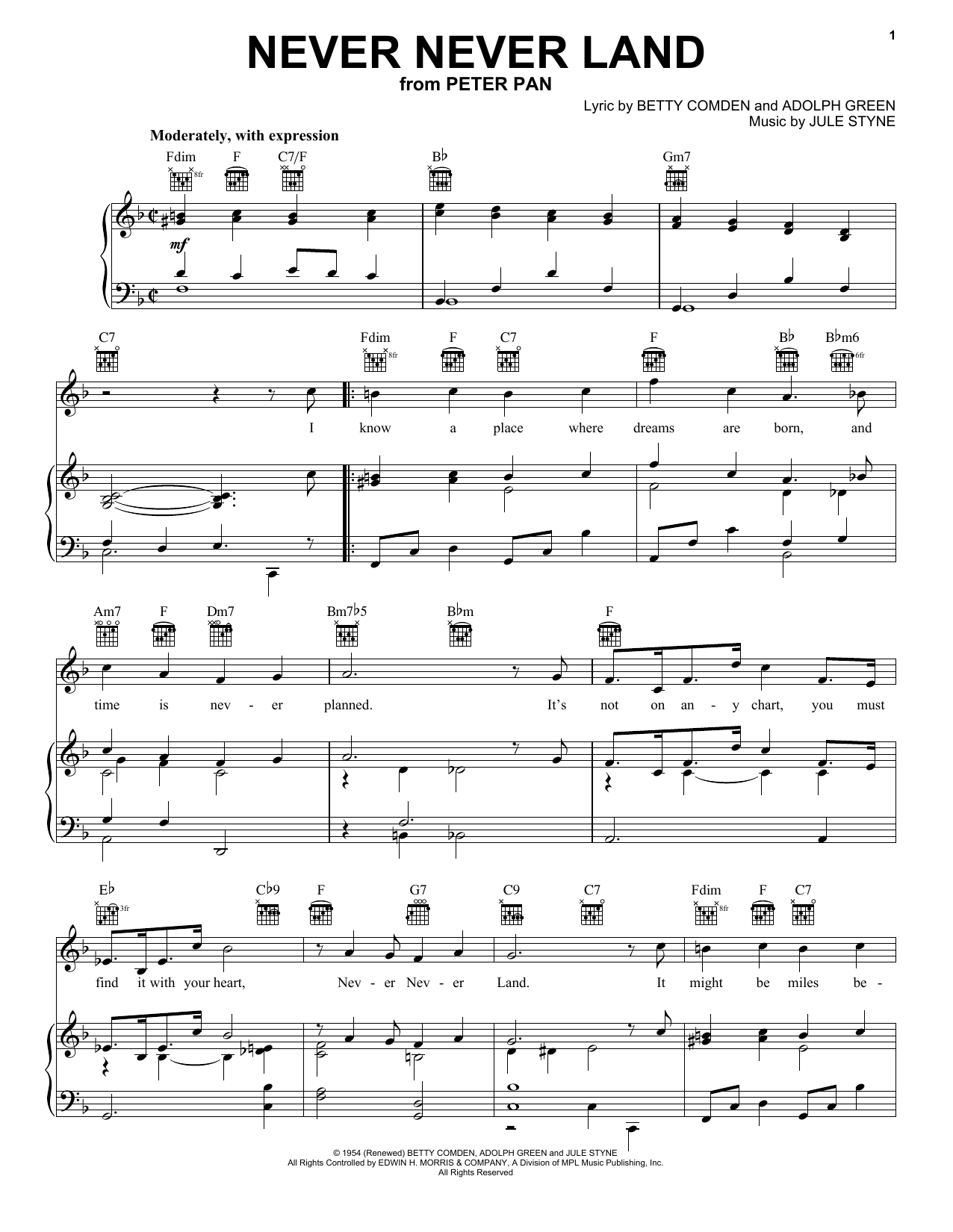 Download Betty Comden Never Never Land sheet music and printable PDF score & Broadway music notes