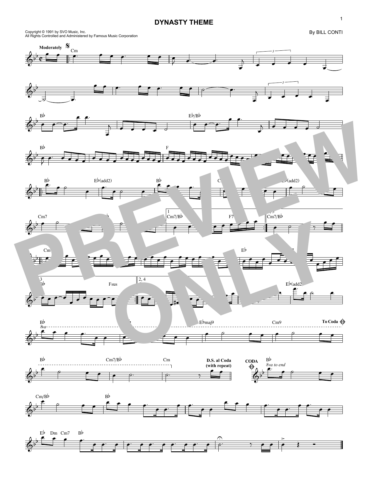 Download Bill Conti Dynasty (Theme) sheet music and printable PDF score & Film and TV music notes