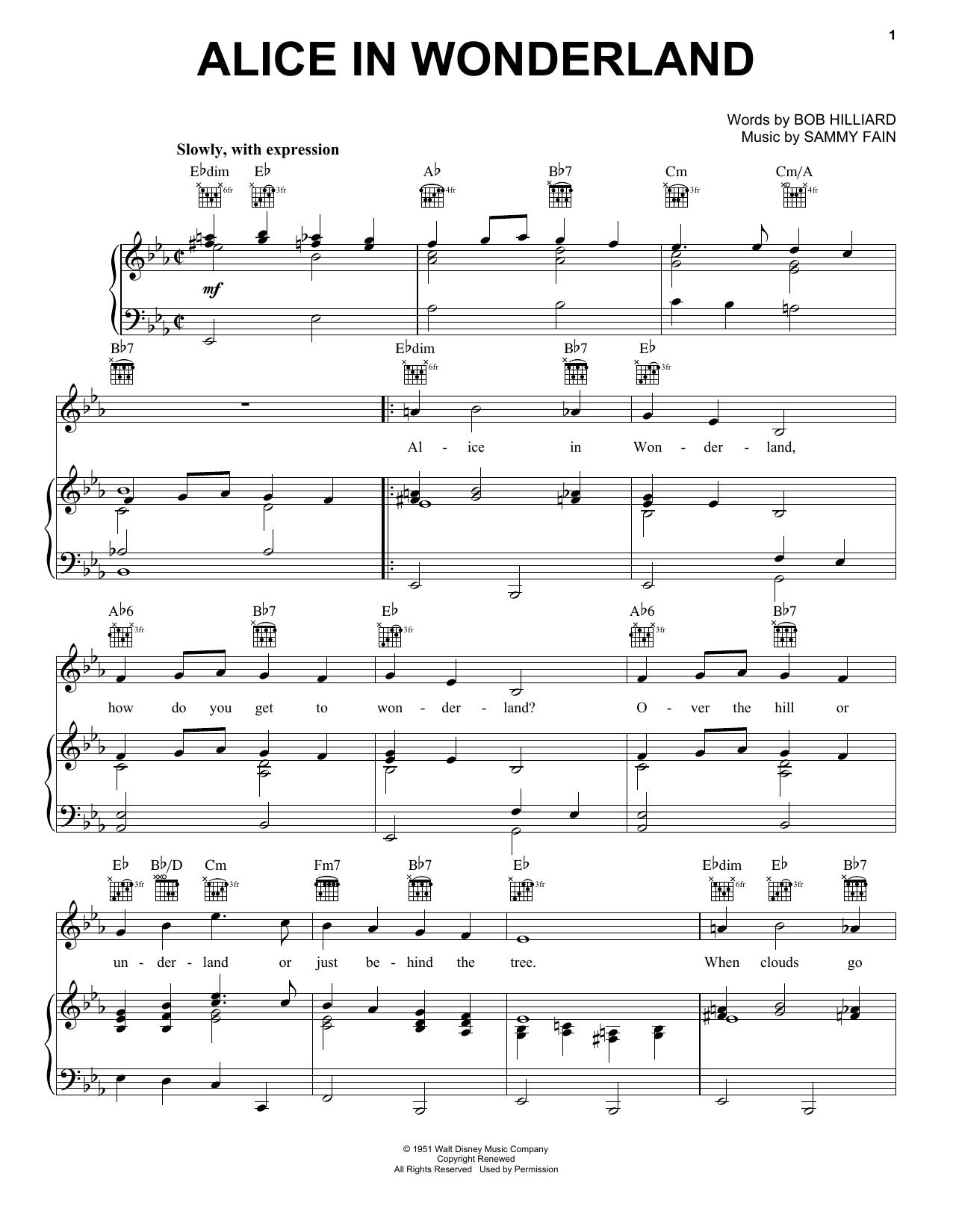 Download Bill Evans Alice In Wonderland sheet music and printable PDF score & Children music notes