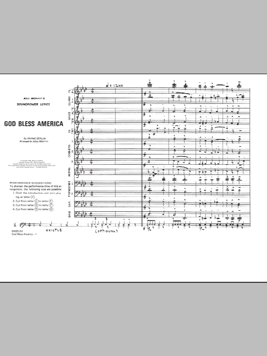 Bill Moffit 'God Bless America - Conductor Score (Full Score)' Sheet Music  Notes, Chords | Download Printable Marching Band - SKU: 282840
