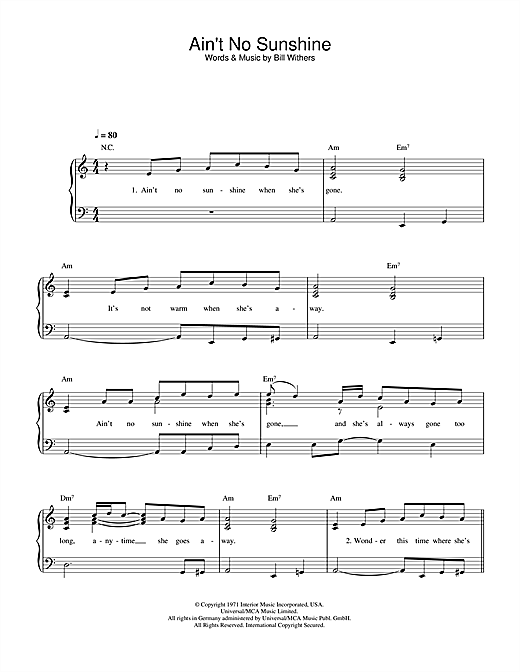 Download Bill Withers Ain't No Sunshine sheet music and printable PDF score & Rock music notes