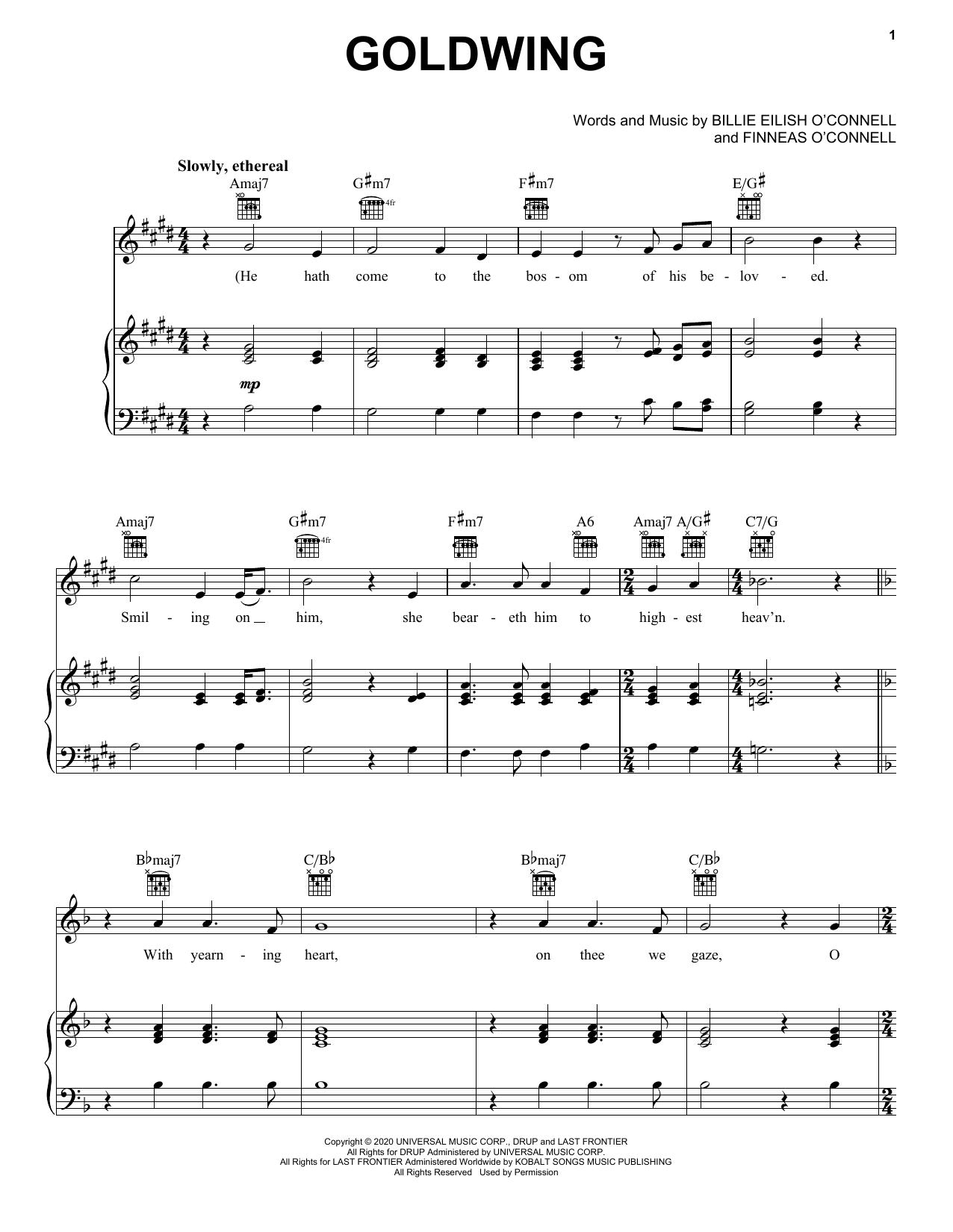 Download Billie Eilish GOLDWING sheet music and printable PDF score & Alternative music notes