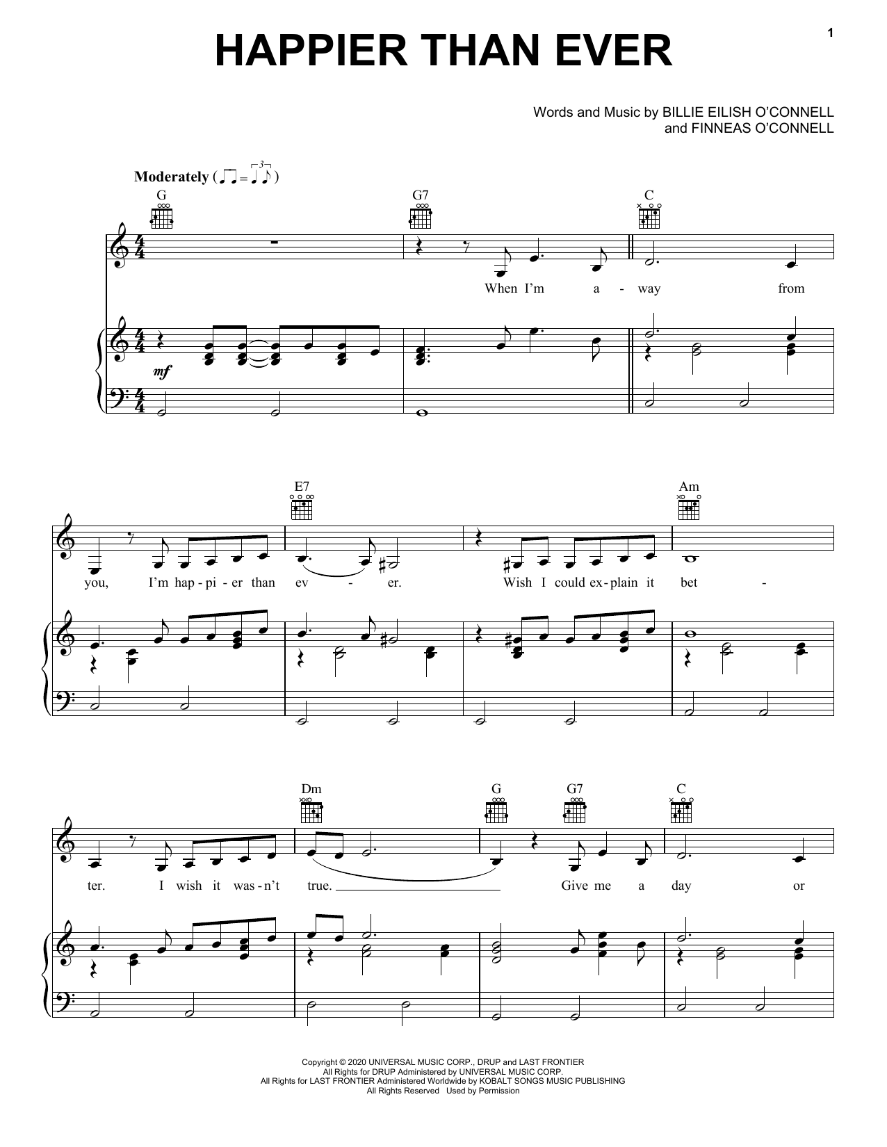 Download Billie Eilish Happier Than Ever sheet music and printable PDF score & Alternative music notes
