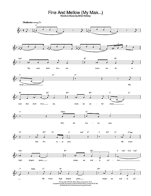 Download Billie Holiday Fine And Mellow (My Man...) sheet music and printable PDF score & Jazz music notes