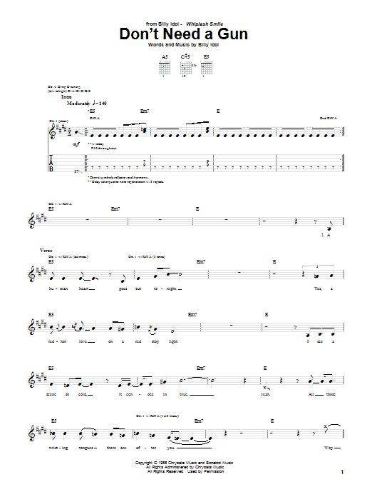 Download Billy Idol Don't Need A Gun sheet music and printable PDF score & Rock music notes