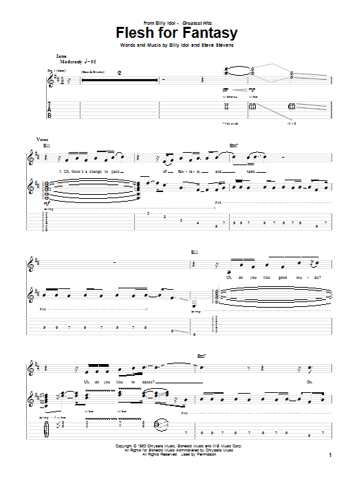 Download Billy Idol Flesh For Fantasy sheet music and printable PDF score & Rock music notes