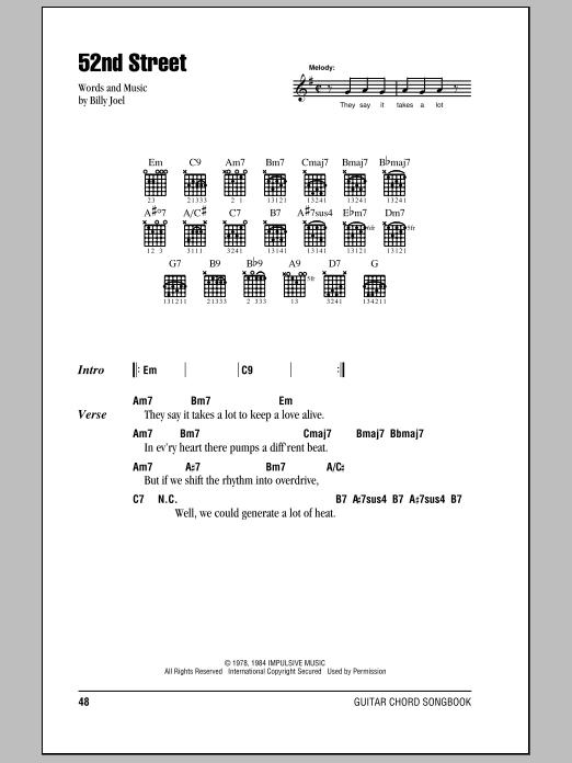 Download Billy Joel 52nd Street sheet music and printable PDF score & Pop music notes