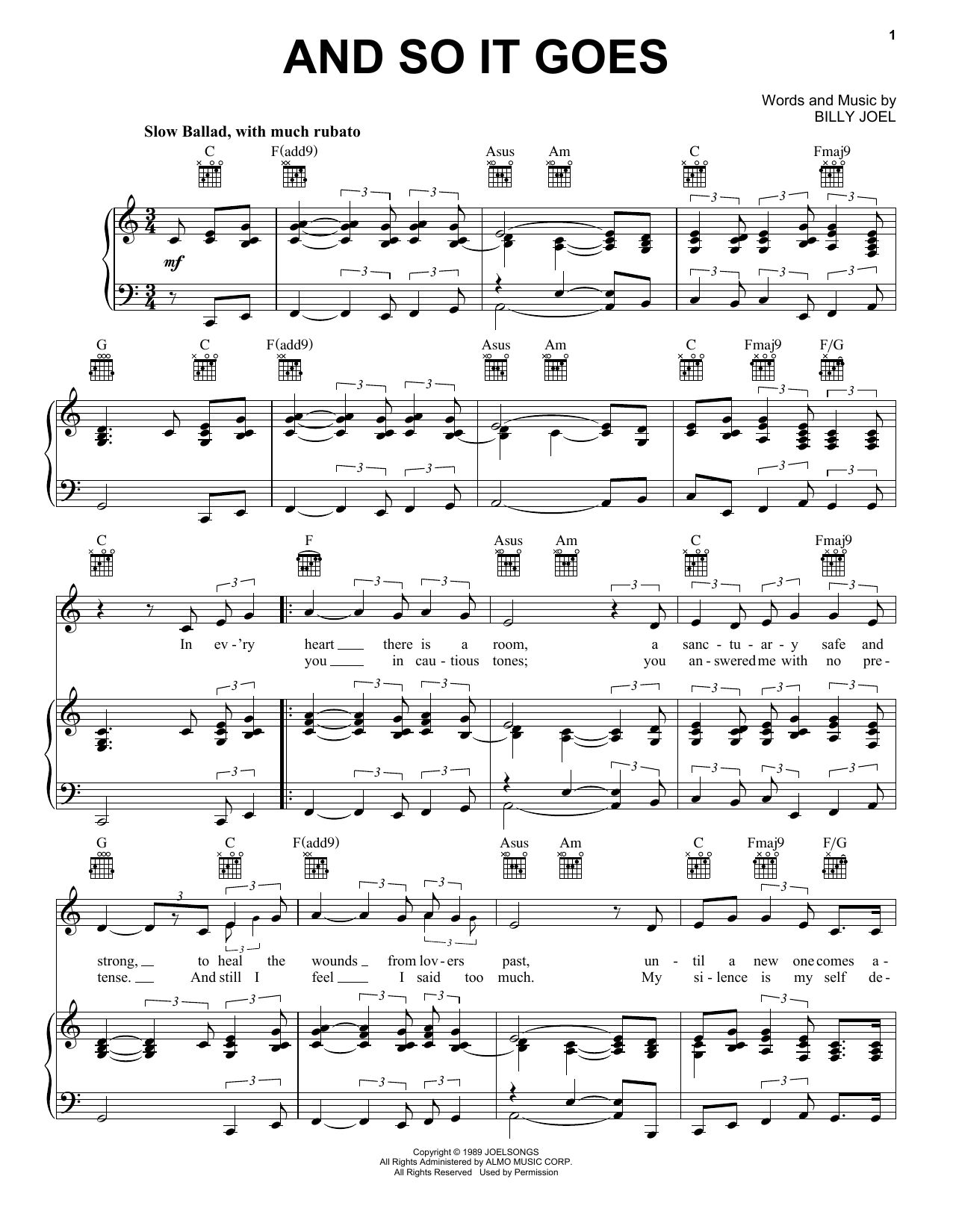 Download Billy Joel And So It Goes sheet music and printable PDF score & Rock music notes