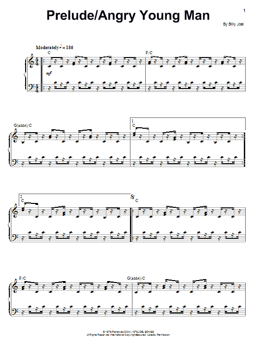 Download Billy Joel Angry Young Man sheet music and printable PDF score & Rock music notes