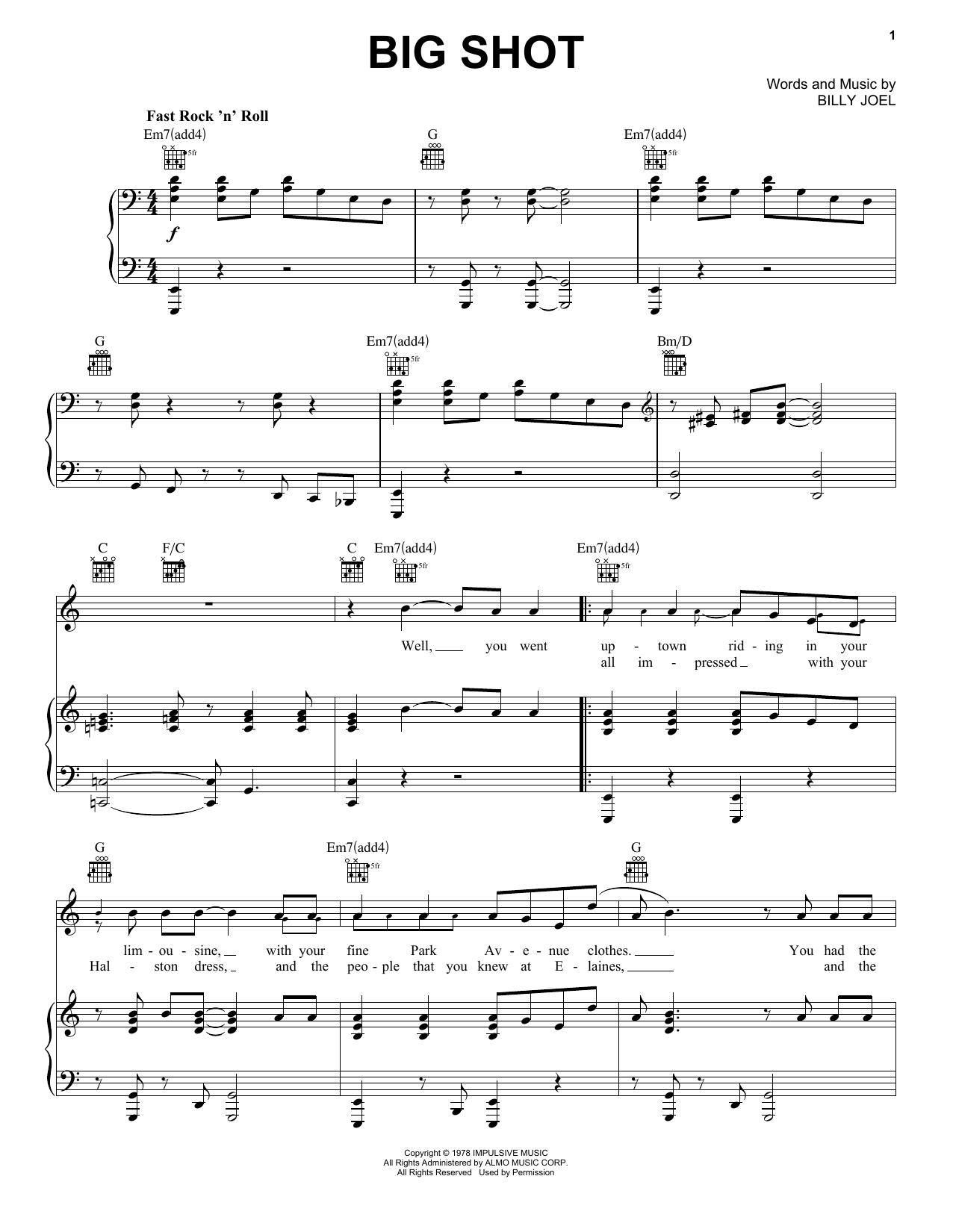 Download Billy Joel Big Shot sheet music and printable PDF score & Rock music notes