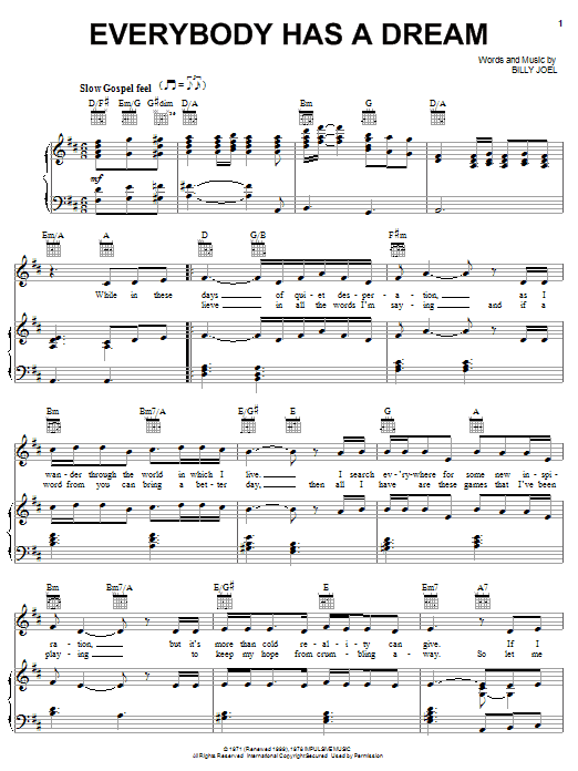 Download Billy Joel Everybody Has A Dream sheet music and printable PDF score & Rock music notes