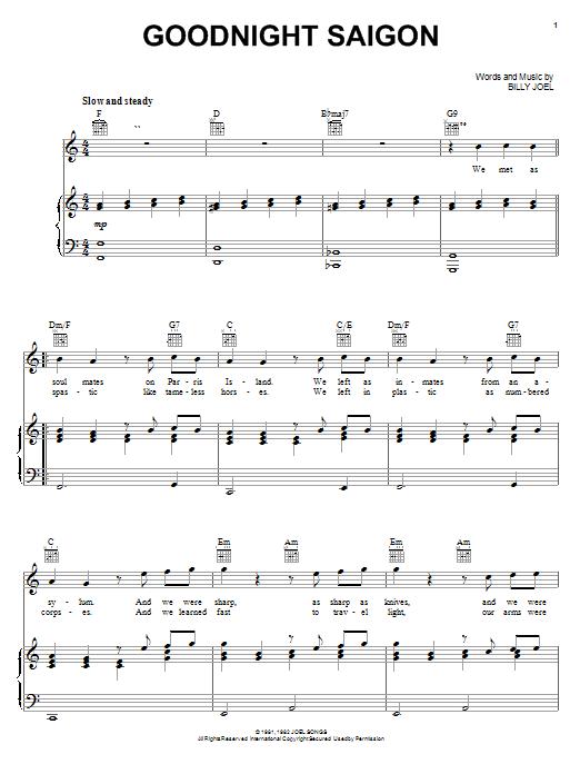 Download Billy Joel Goodnight Saigon sheet music and printable PDF score & Rock music notes