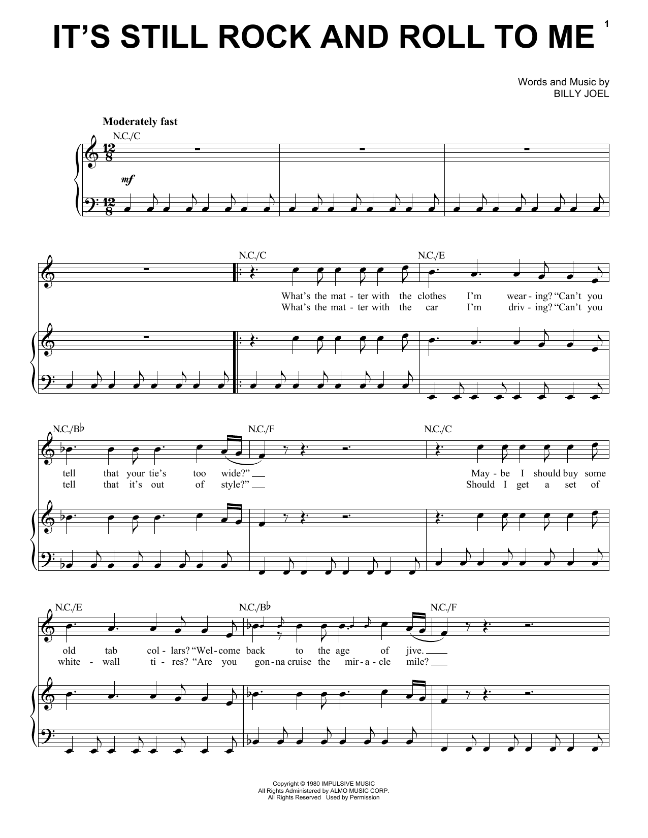 Download Billy Joel It's Still Rock And Roll To Me sheet music and printable PDF score & Rock music notes