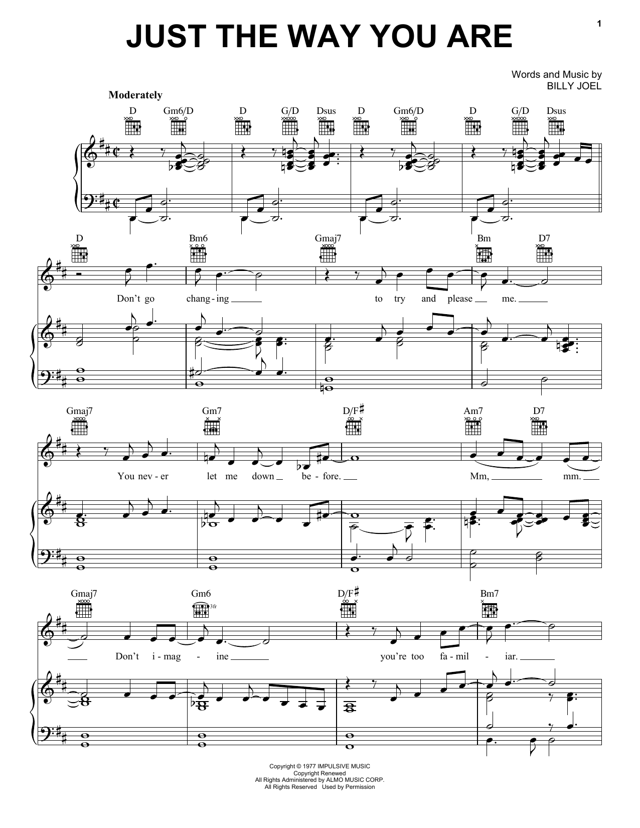 Download Billy Joel Just The Way You Are sheet music and printable PDF score & Rock music notes