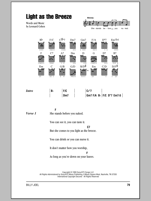 Download Billy Joel Light As The Breeze sheet music and printable PDF score & Rock music notes