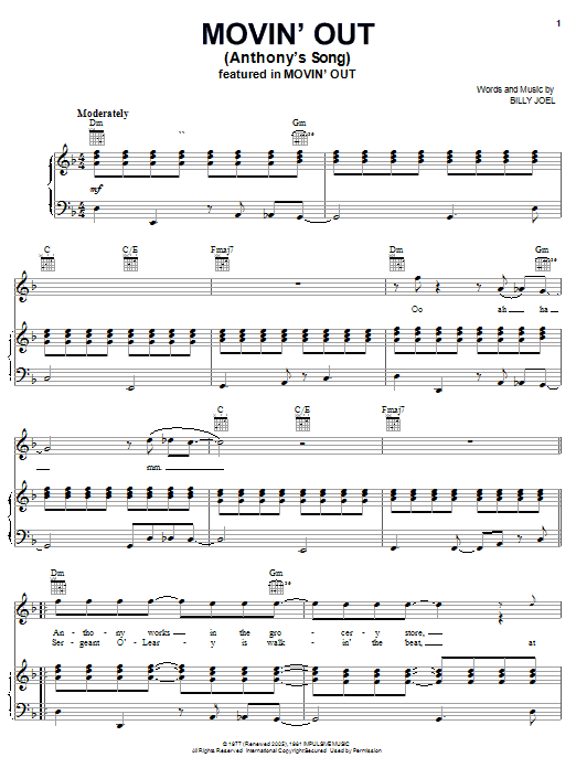 Download Billy Joel Movin' Out (Anthony's Song) sheet music and printable PDF score & Rock music notes