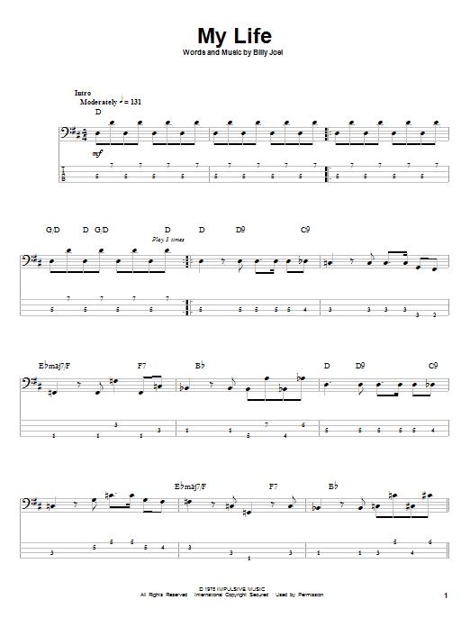 Download Billy Joel My Life sheet music and printable PDF score & Rock music notes