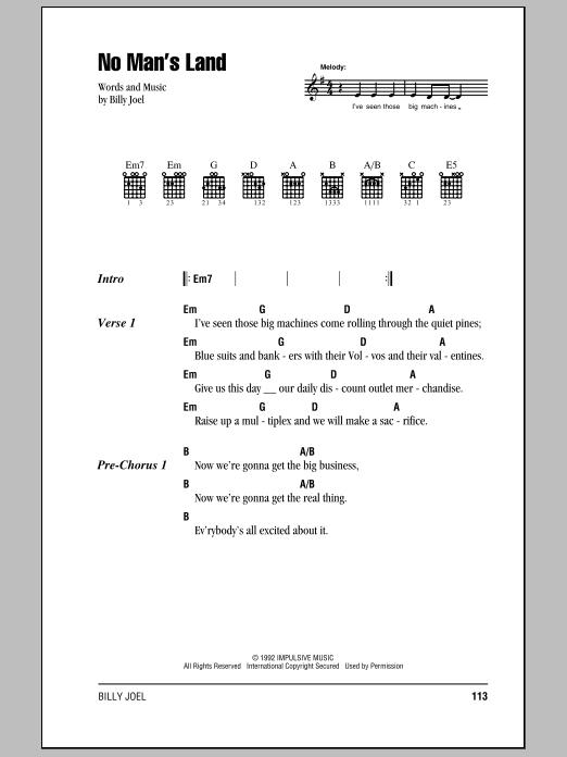 Download Billy Joel No Man's Land sheet music and printable PDF score & Rock music notes