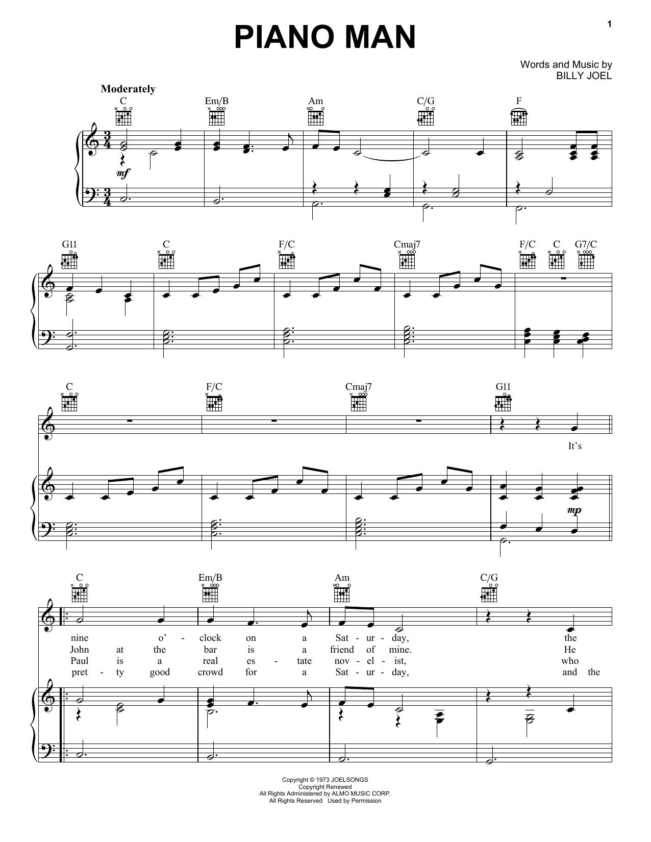 Download Billy Joel Piano Man sheet music and printable PDF score & Rock music notes