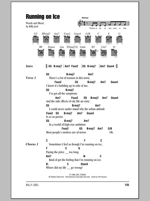 Download Billy Joel Running On Ice sheet music and printable PDF score & Rock music notes