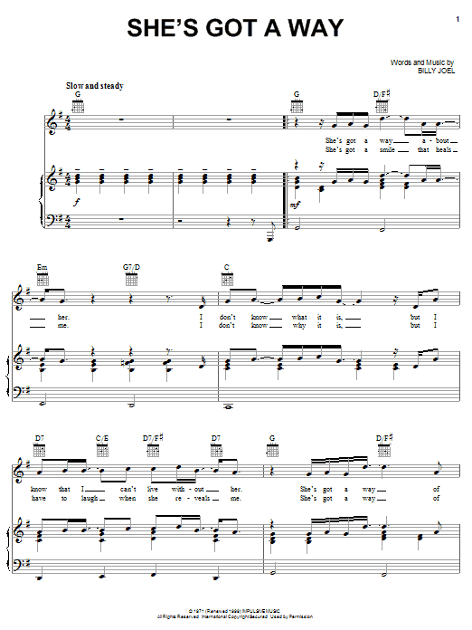Download Billy Joel She's Got A Way sheet music and printable PDF score & Pop music notes