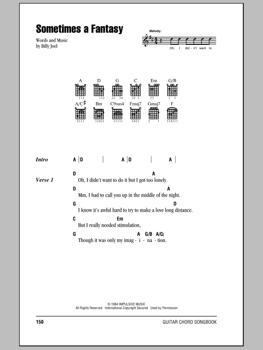 Download Billy Joel Sometimes A Fantasy sheet music and printable PDF score & Rock music notes