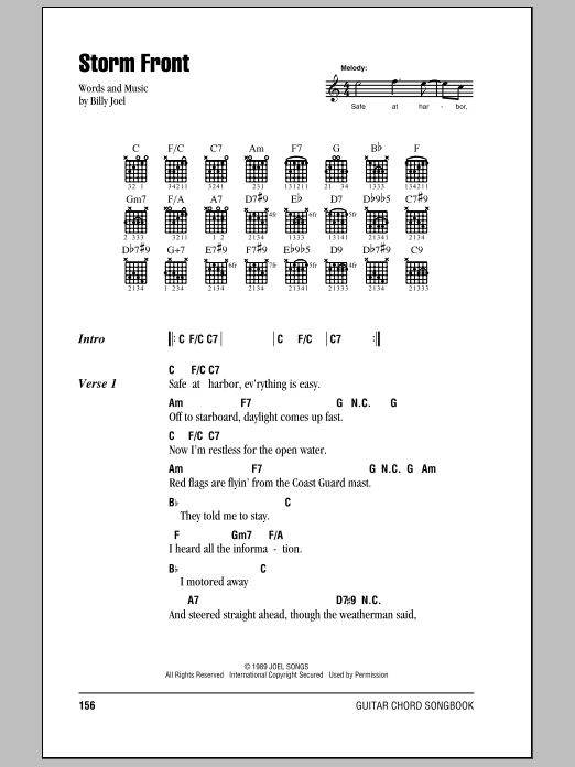 Download Billy Joel Storm Front sheet music and printable PDF score & Rock music notes