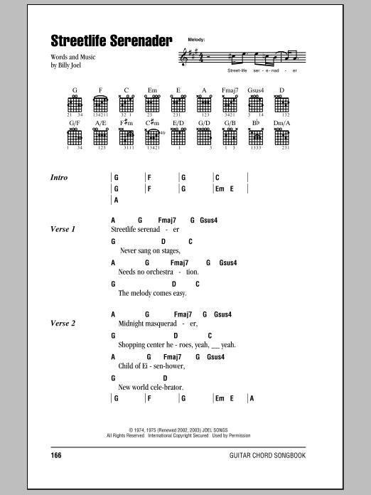Download Billy Joel Streetlife Serenader sheet music and printable PDF score & Rock music notes